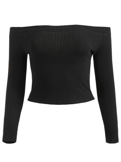 online Off Shoulder Ribbed Crop Tee - BLACK S Mobile
