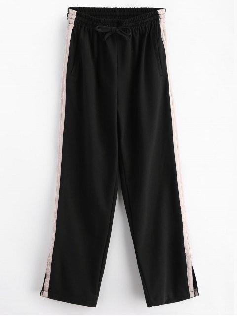 Pantalon Rayé à Fente à Jambes Larges - Noir S Mobile