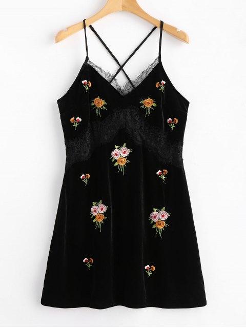 Mini vestido bordado terciopelo panel de encaje - Negro M Mobile