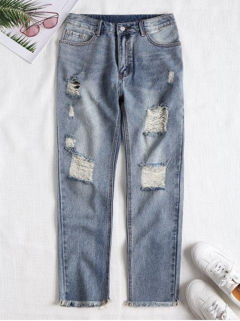 womens Frayed Destroyed Straight Jeans - DENIM BLUE L Mobile