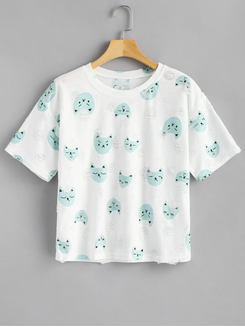 Puppy Distressed Top - Azul Opaco Única Talla Mobile