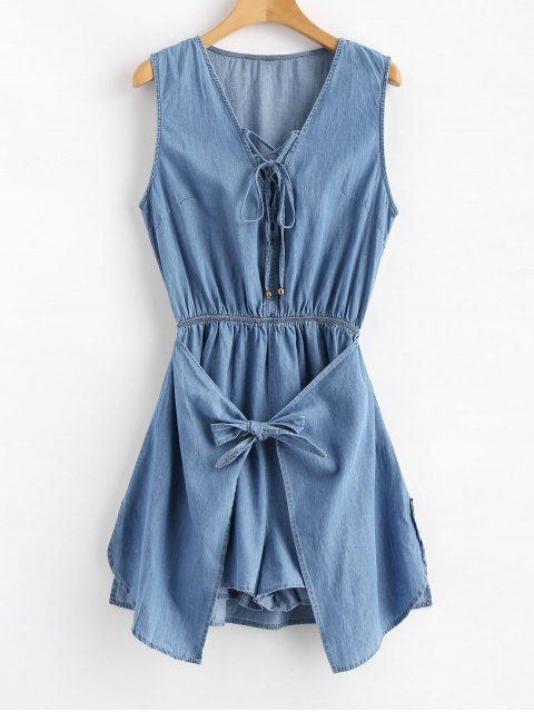fancy Skort Tied Lace Up Romper - JEANS BLUE L Mobile