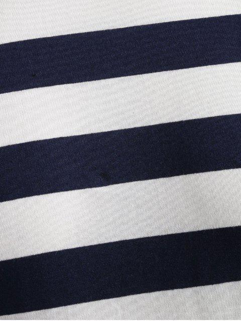 Camiseta a rayas con hombros caídos - Azul de Pizarra Oscuro M Mobile