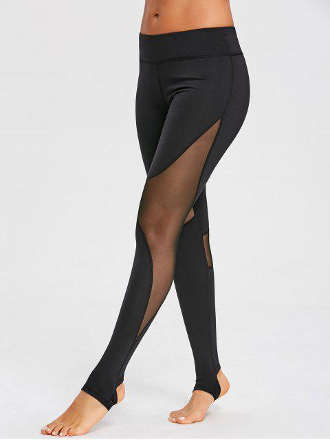 ladies Mesh Panel Stirrup Sports Leggings - BLACK L Mobile