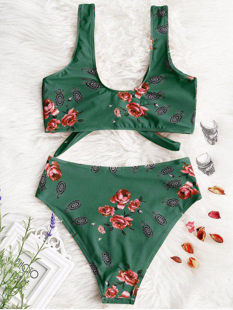 Bikini de corte alto anudado estampado - Verde M Mobile