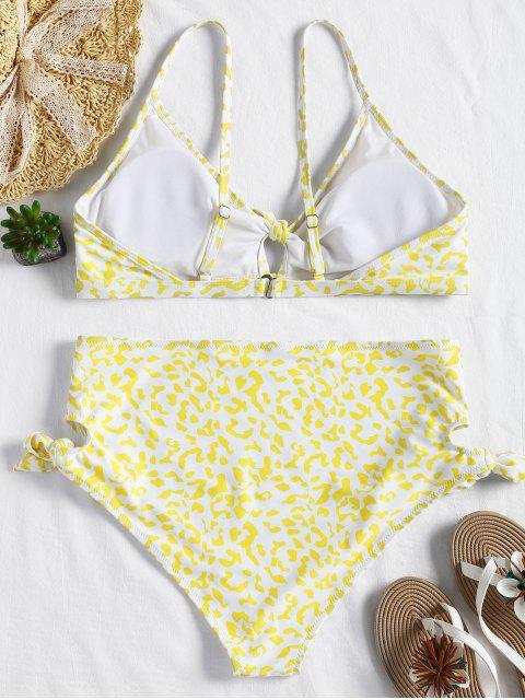 fancy Plus Size Knot High Waisted Bikini - YELLOW 1X Mobile