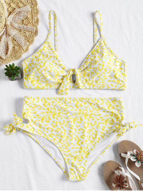 sale Plus Size Knot High Waisted Bikini - YELLOW 3X Mobile