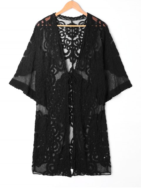 fancy Sheer Lace Embroidered Kimono Cover Up - BLACK ONE SIZE Mobile