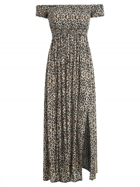 outfit Leopard Smocked Off Shoulder Maxi Dress - LEOPARD M Mobile