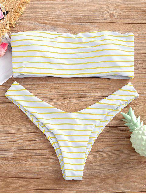Trägerloses Streifen Hohe Schlitz Bikini Set - Gelb S Mobile
