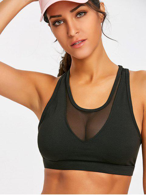 latest Mesh Panel Sports Bra - BLACK L Mobile
