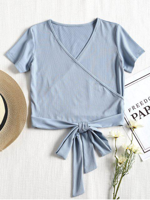 buy Short Sleeve Ribbed Faux Wrap Tee - POWDER BLUE S Mobile