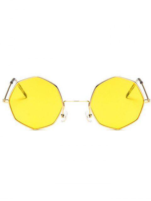 Óculos de Sol Geométrico com Armação Metálica - Amarelo  Mobile