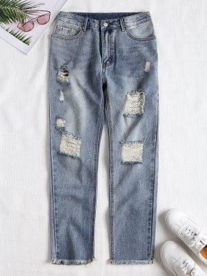 Ausgefranste Gerade Jeans