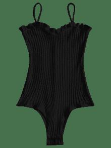 Negro Volantes Mono Con Cami Acanalado M 6Sqvg