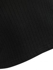 Sin S Hombros Negro Camiseta Recortadas Costuras Con p4aqUdwU