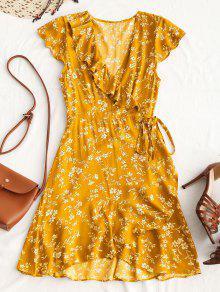 فستان لف مصغر كشكش طباعة الأوهار المصغرة - الأصفر L