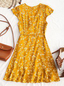 32e636a1eb20 28% OFF   HOT  2019 Tiny Floral Ruffle Mini Wrap Dress In YELLOW