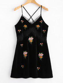 الدانتيل لوحة المخملية المطرزة البسيطة اللباس - أسود L