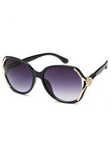 مكافحة التعب منحوتة زهرة مزينة النظارات الشمسية - أسود