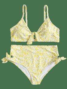 4x Nudo Amarillo Y Alta Con Cintura Alto Talle Bikini v6P48