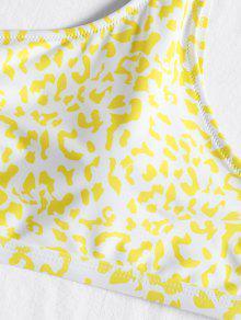 Con Amarillo Un Bikini L Estampado Hombro Grande Talla SxpSn7wtq