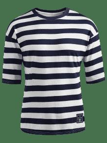 Ca Hombros Oscuro De M A 237;dos Azul Camiseta Con Rayas Pizarra xItFwzzqf