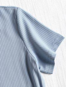 M P Manga Con Acanalada 225;lido Corta Camiseta Azul Falda De Pgfqgnwz