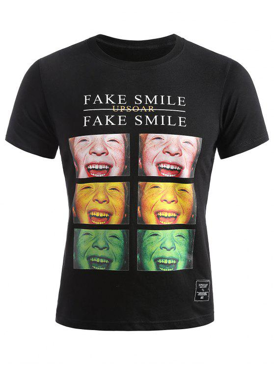 best Smiled Face Photos Summer T-shirt - BLACK XL