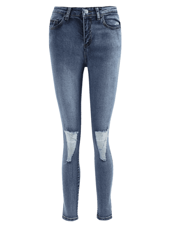 buy Skinny Distressed Jeans - DENIM BLUE L