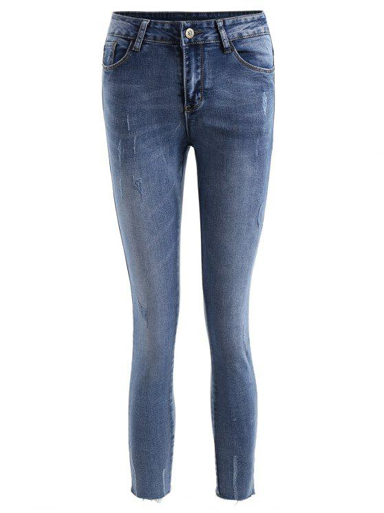 best Frayed Distressed Ninth Jeans - DENIM BLUE M