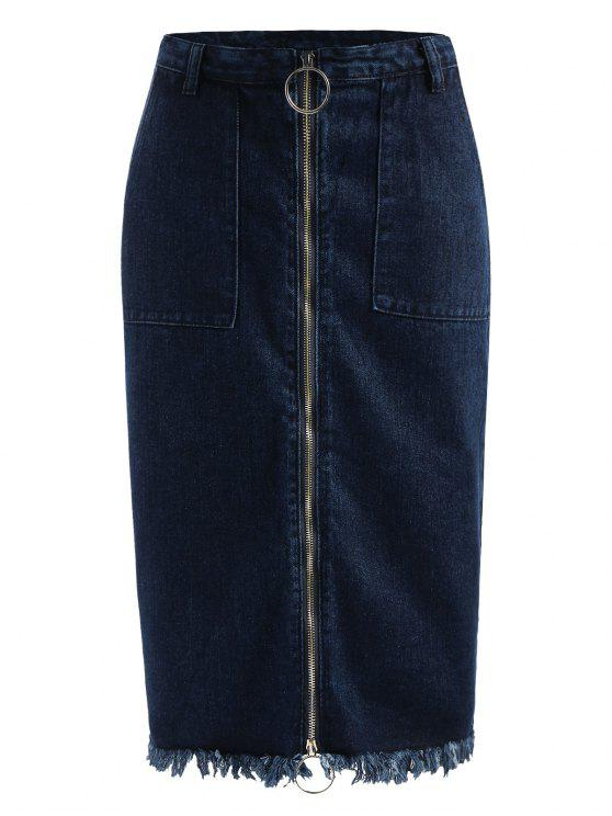 sale Frayed Zip Up Jean Skirt - DENIM DARK BLUE L