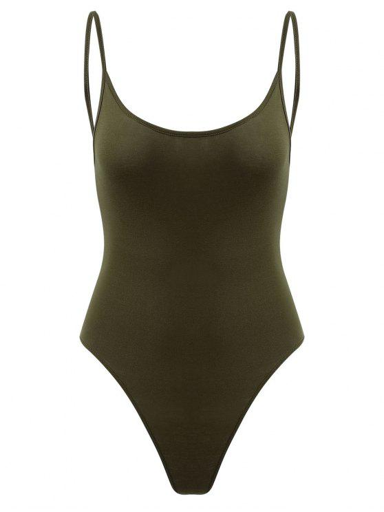 Snap Button Open Back Bodysuit - Verde de Fern  M