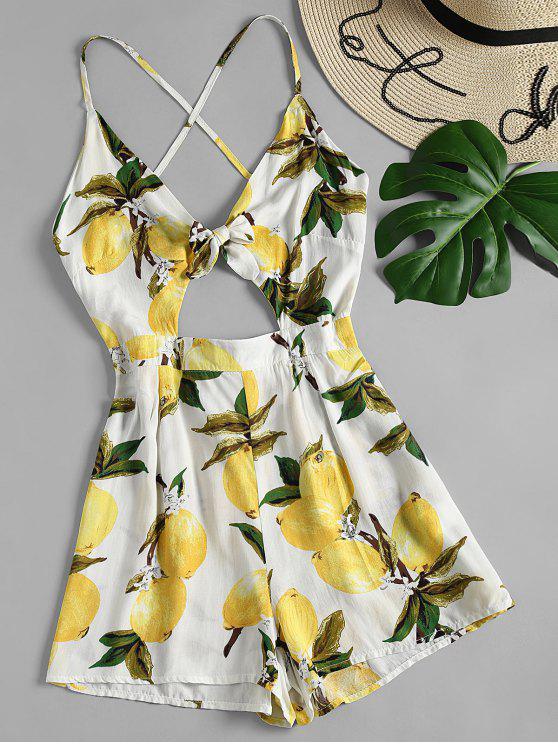 Pagliaccetto anteriore con stampa cravatta al limone - Bianco M