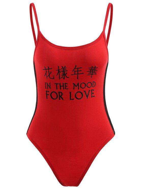 Gerippter Trims Buchstabe Bestickter Bodysuit - Liebes Rot M