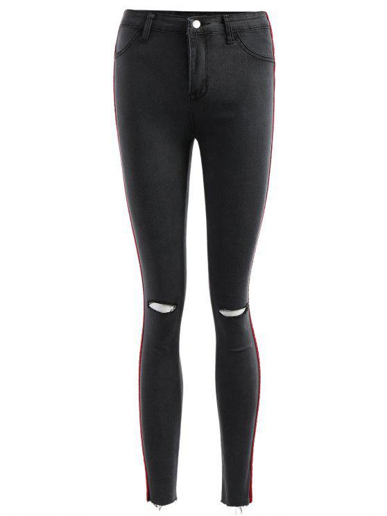 Pantalones vaqueros rasgados con panel de terciopelo - Gris Carbón M