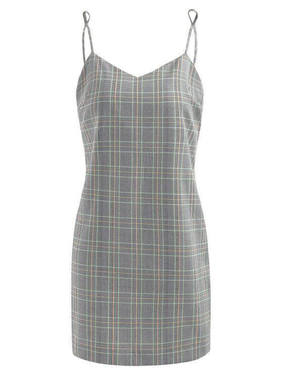 affordable Half Buttoned Plaid Slip Dress - GRAY GOOSE L