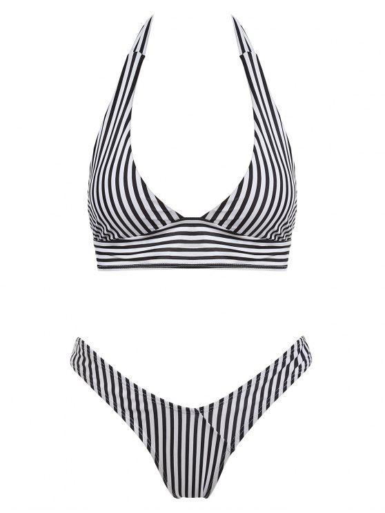 latest Halter Striped High Cut Thong Bikini Set - BLACK M