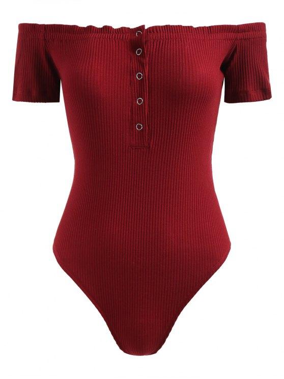 زر المفاجئة قبالة الكتف ارتداءها - نبيذ احمر M
