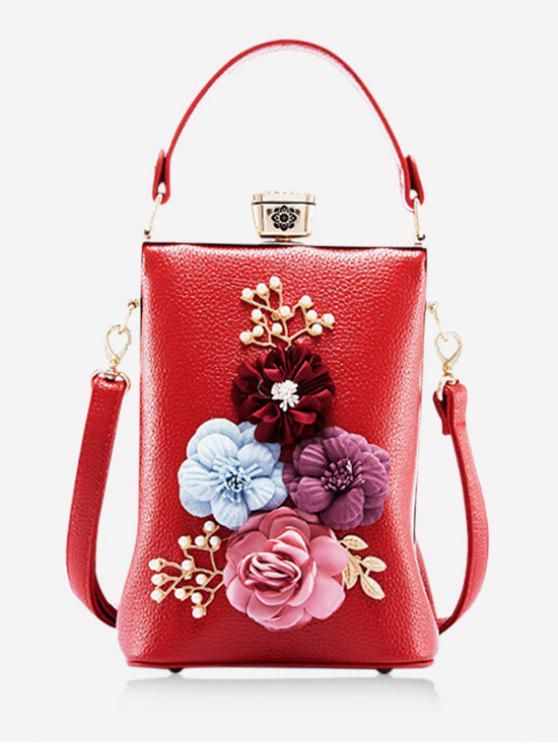 affordable Metallic Flowers Chic Crossbody Bag - RED