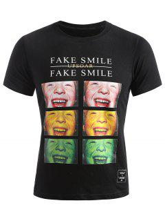 Smiled Face Photos Summer T-shirt - Black M
