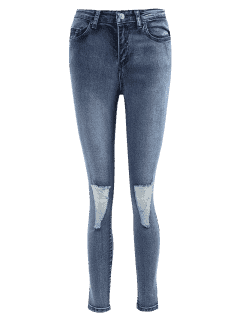 Skinny Distressed Jeans - Denim Blue L