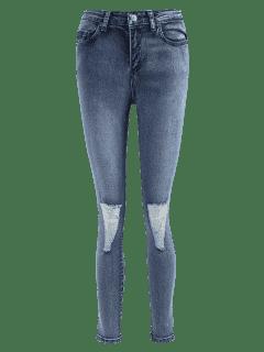 Dünne Ausgefranste Jeans - Denim Blau Xl