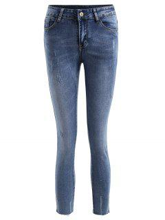 Frayed Distressed Ninth Jeans - Denim Blue L