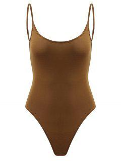 Snap Button Open Back Bodysuit - Dark Goldenrod M