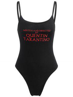 Ribbon Trims Letter Embroidered Bodysuit - Black M