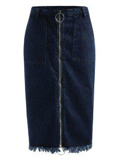 Frayed Zip Up Jean Skirt - Denim Dark Blue L