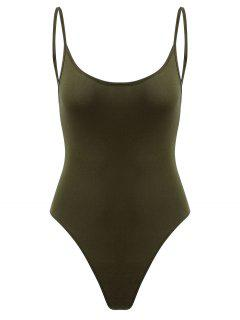 Snap Button Open Back Bodysuit - Fern Green S