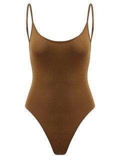 Snap Button Open Back Bodysuit - Dark Goldenrod S