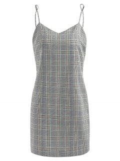 Half Buttoned Plaid Slip Dress - Gray Goose S